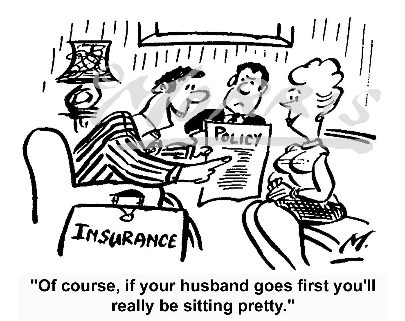 Insurance endowment policy cartoon Ref: 0324bw