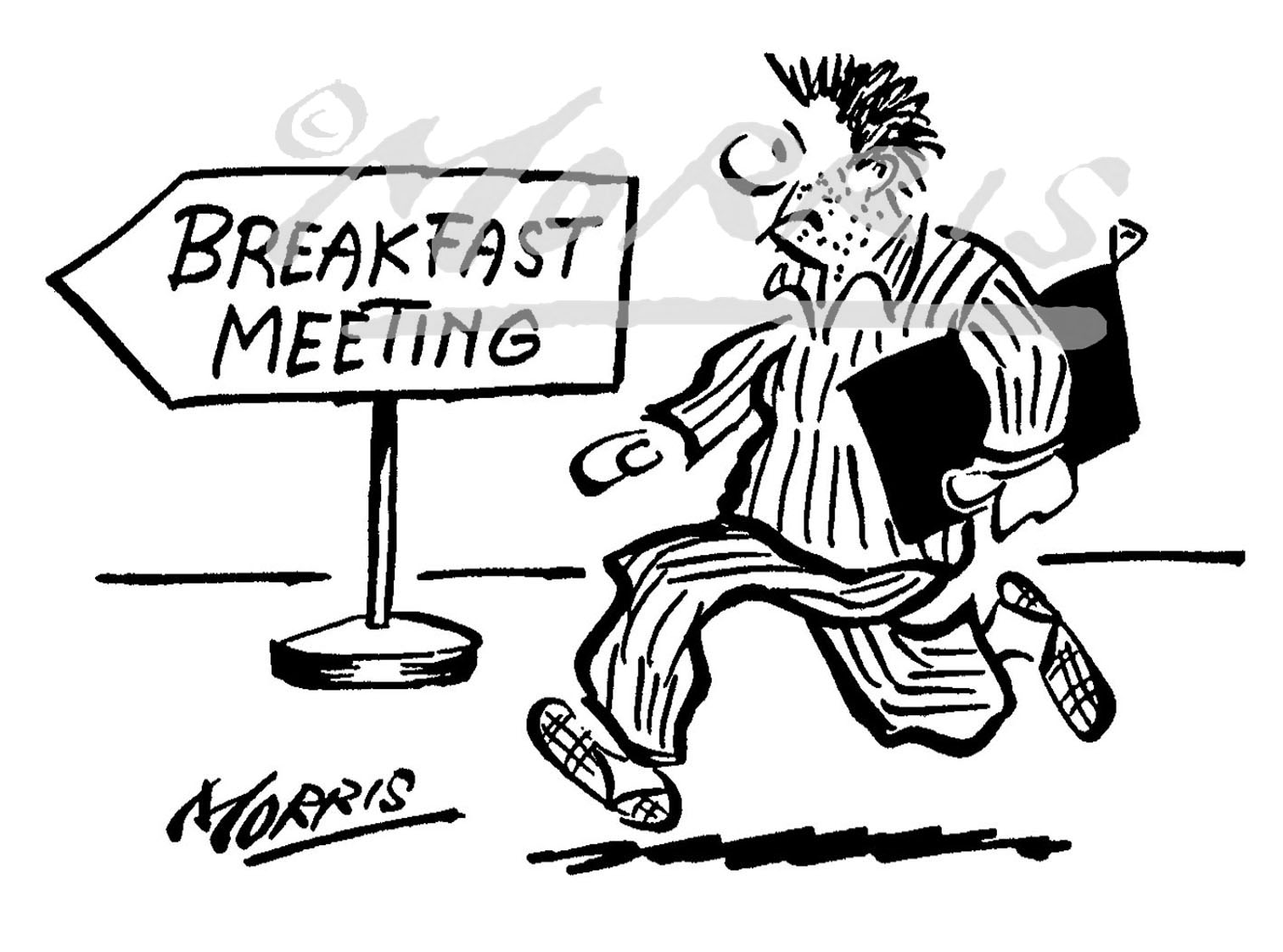 Breakfast meeting cartoon Ref: 1252bw