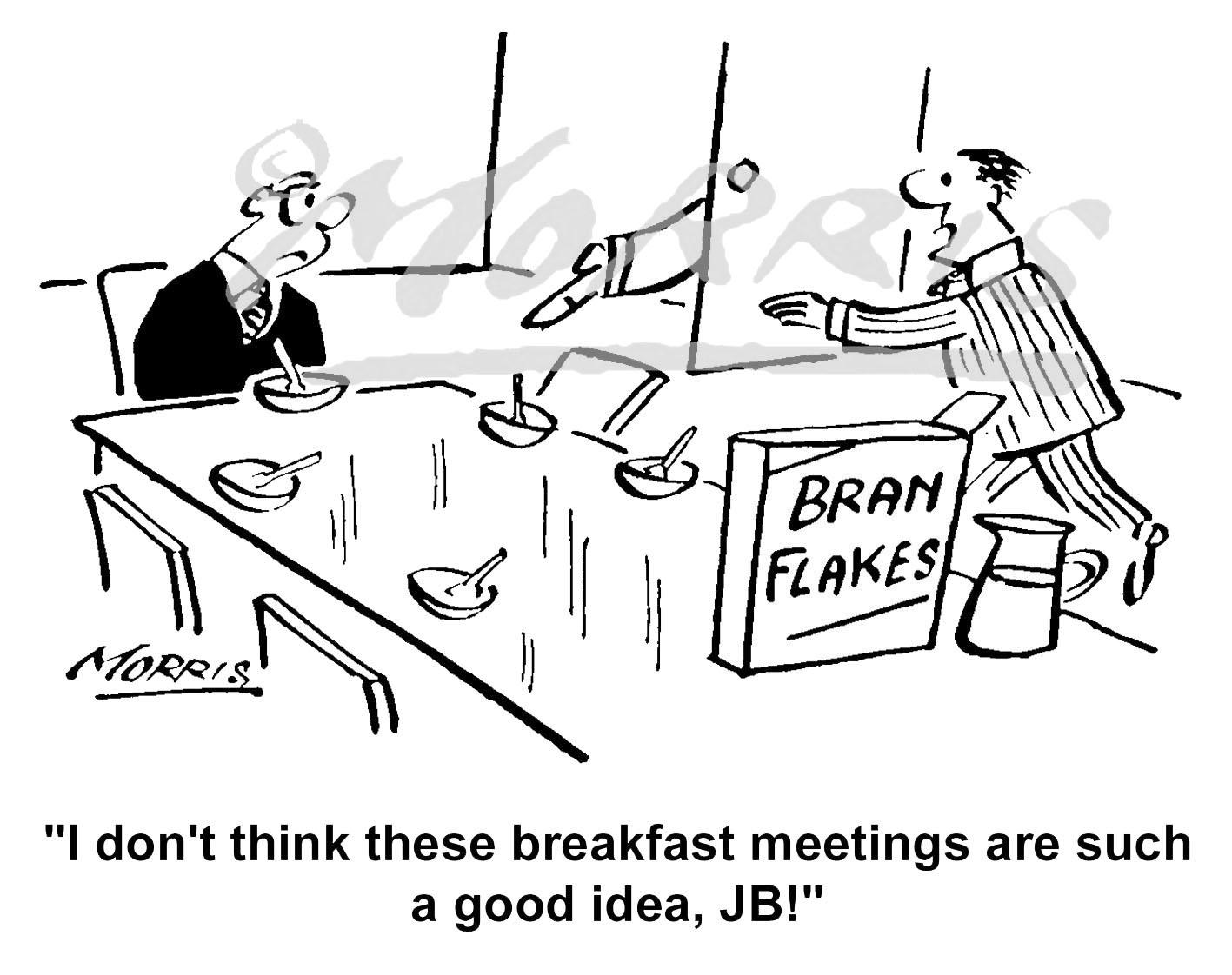 Boardroom breakfast meeting cartoon Ref: 1489bw
