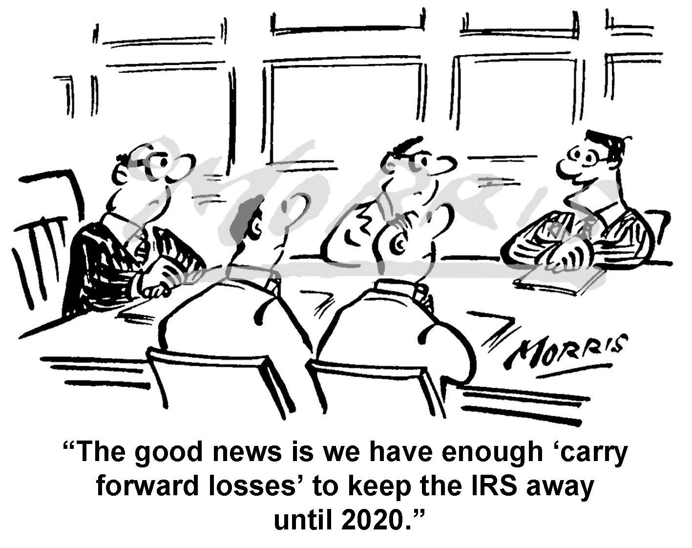 Boardroom meeting tax audit cartoon – Ref: 1499bwus