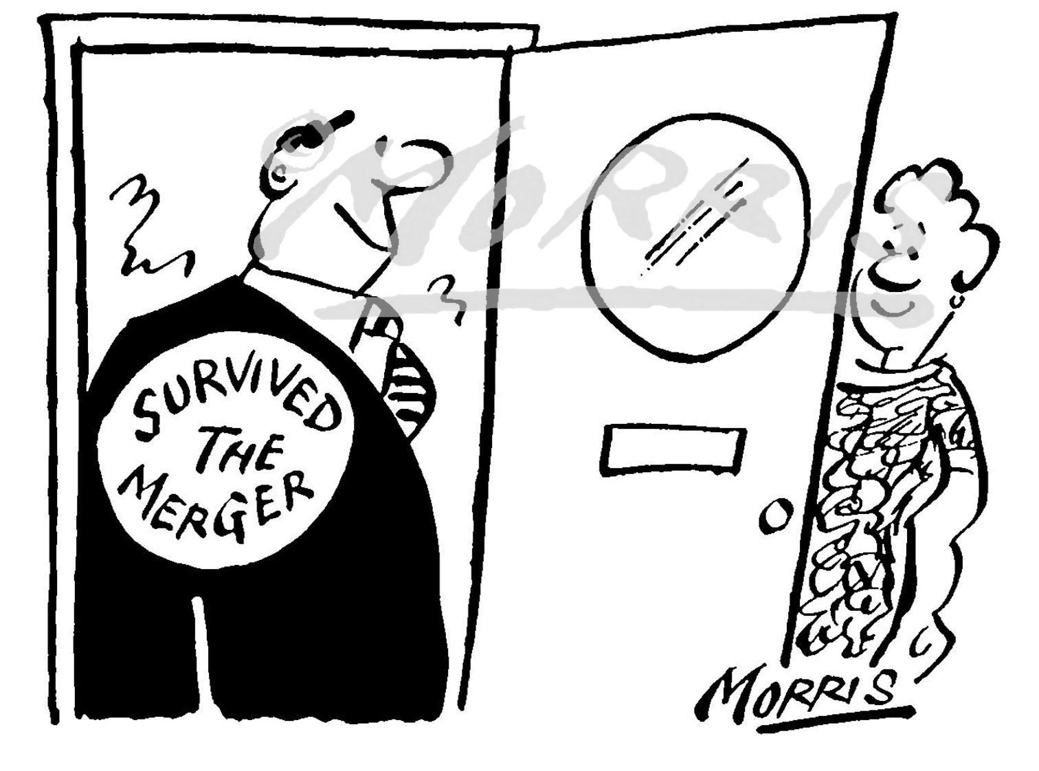 Chairman president merger cartoon Ref: 1641bw