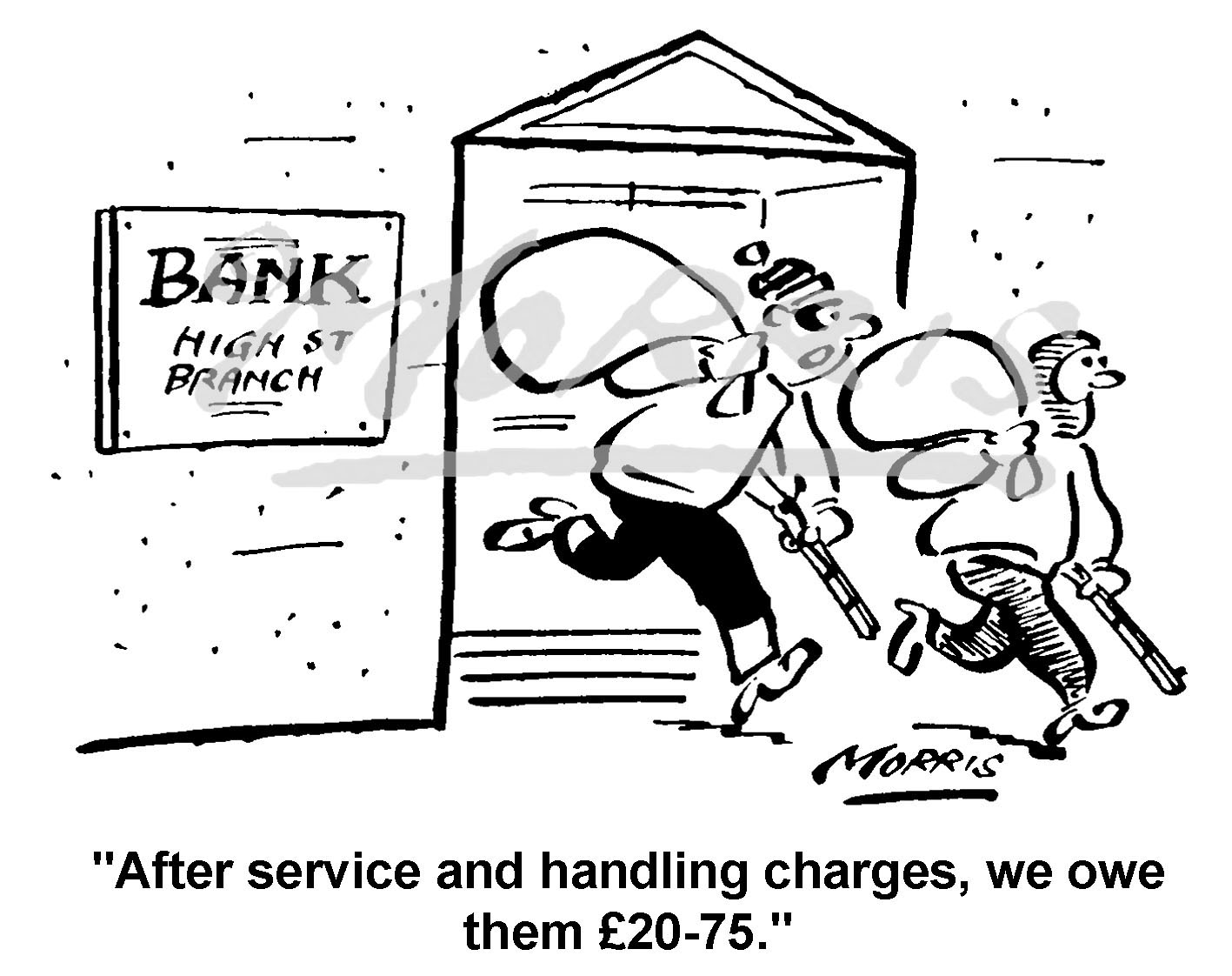 Bank charges cartoon – Ref: 1725bw