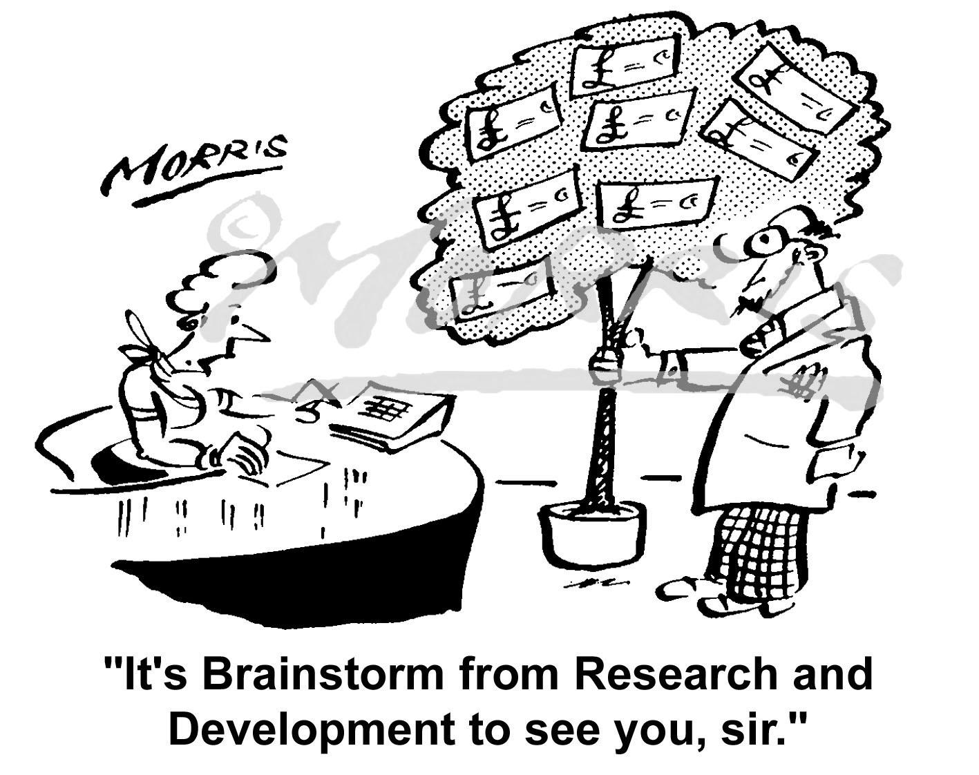 Money tree development cartoon – Ref: 2209bw