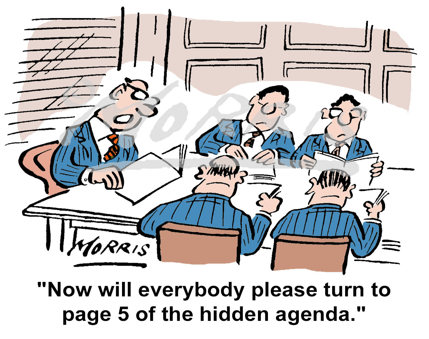 Boardroom Agenda Meeting cartoon – Ref: 3215col