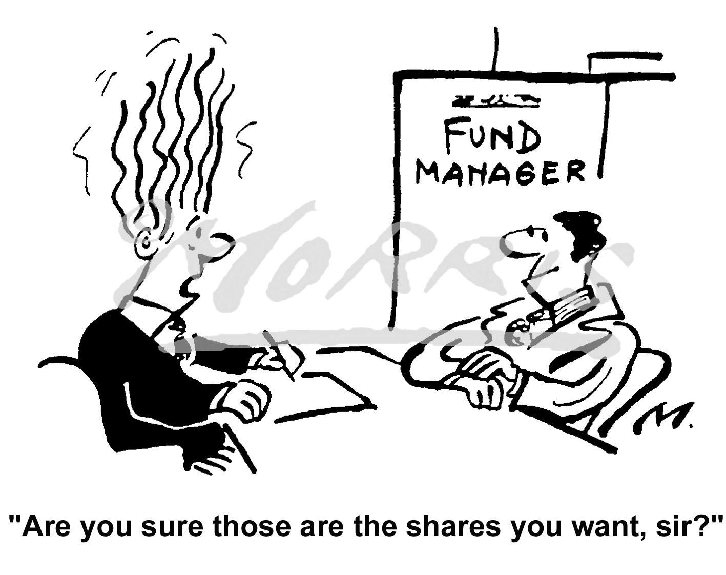 Shares cartoon, Financial cartoon, Fund Manager cartoon –  Ref: 4430bw