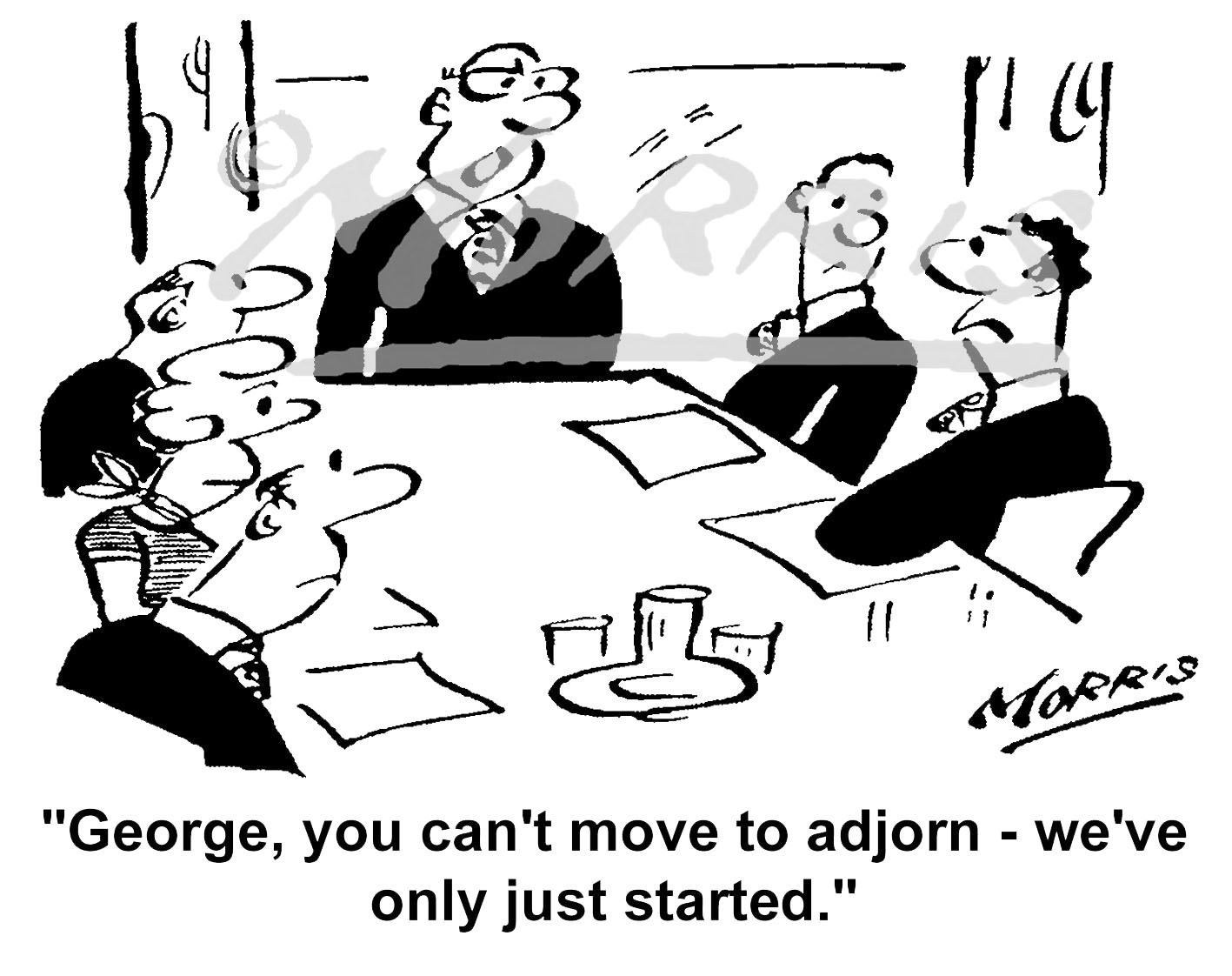 Boardroom meeting cartoon, Chairman cartoon, CEO cartoon & Managing Director cartoon – Ref: 5538bw