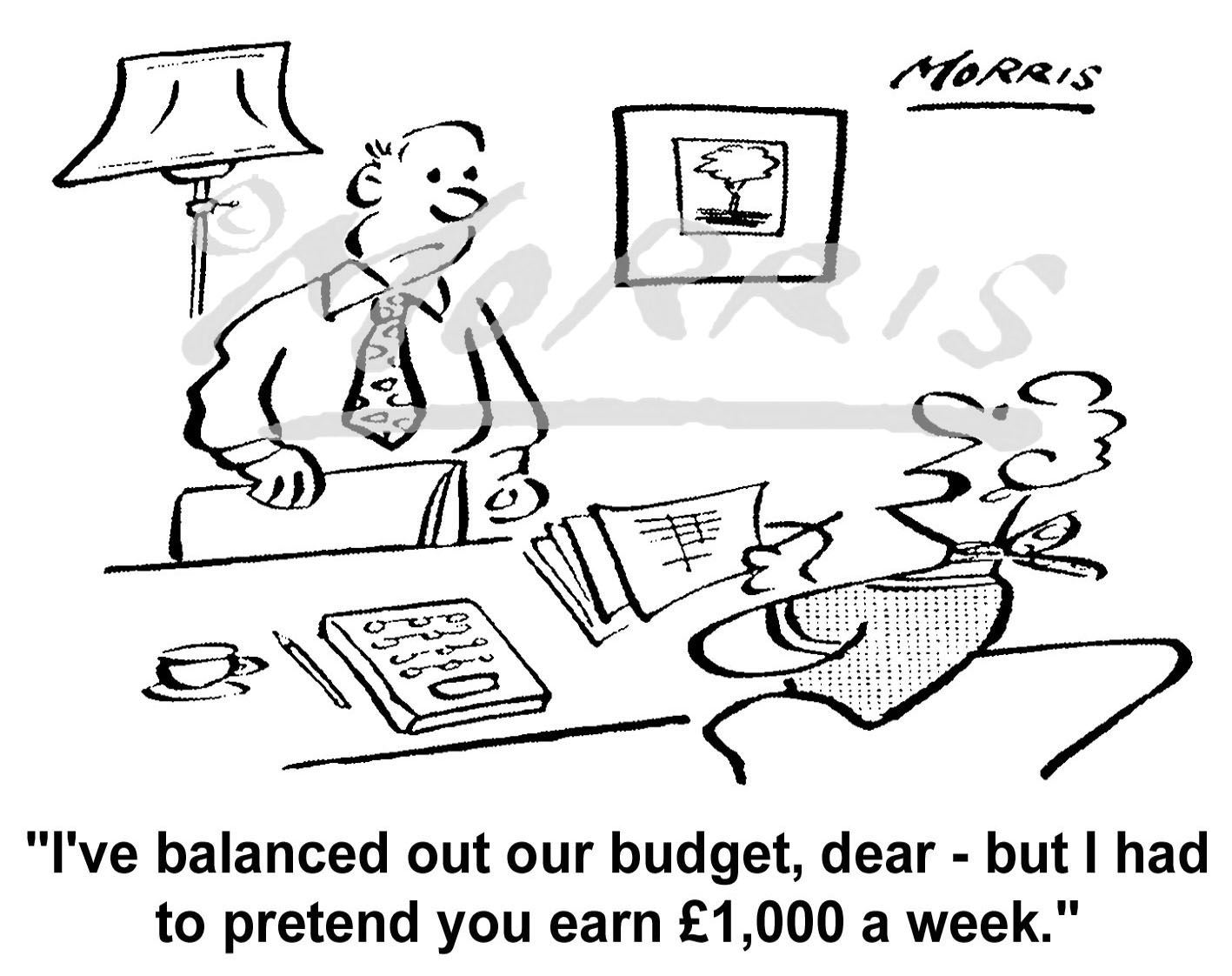 Financial cartoon, Cost of Living cartoon, Family budget cartoon, – Ref: 5996bw