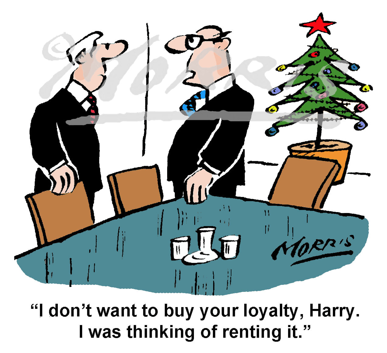 Chairman to young boardroom director cartoon – Ref: 8336col