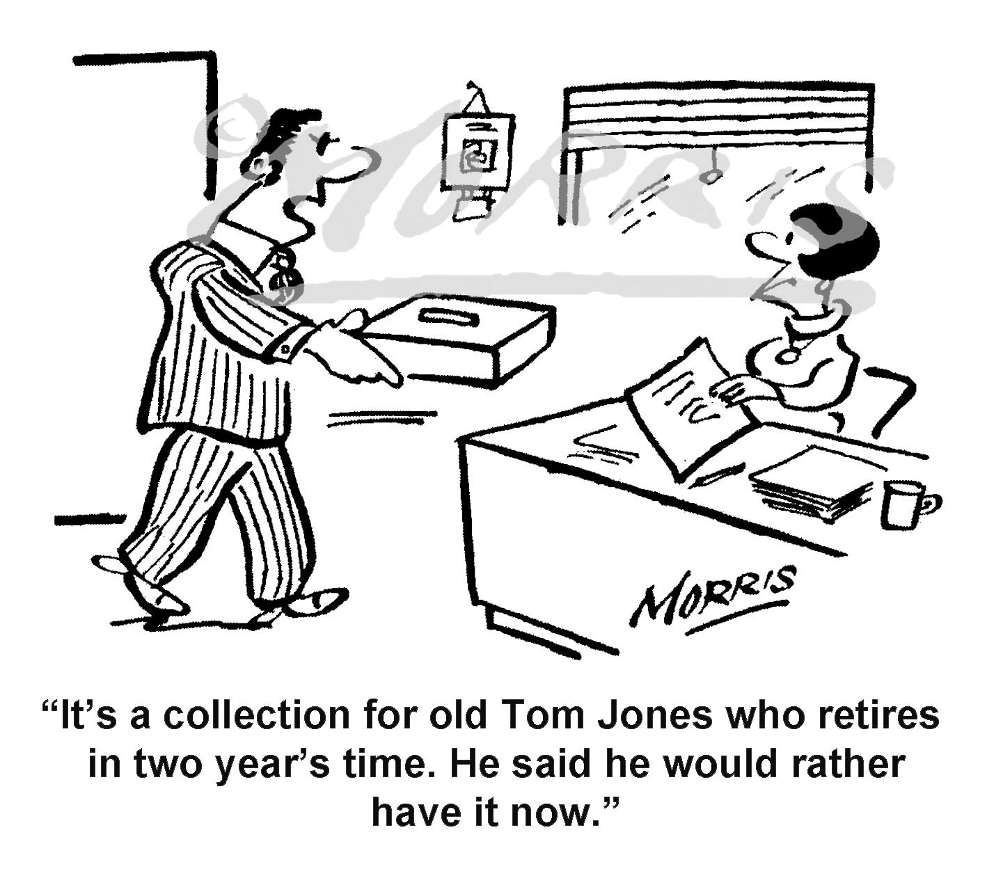 Retirement early collection cartoon – Ref: 8477bw